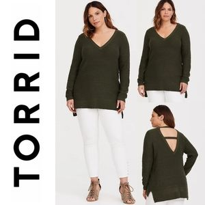 TORRID Olive Green Strappy Back Tunic Sweater